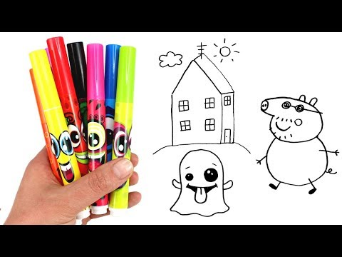 Drawing & Coloring with Surprise Toys Daddy Pig Peppa Pig's House Doc McStuffins Num Noms Snackables
