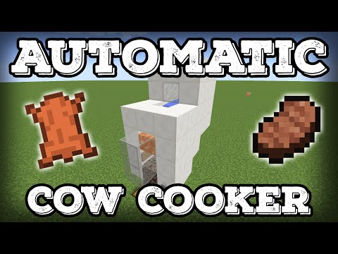 Minecraft Tutorial - Automatic Cow Cooker - Leather Farm - Steak Farm - Compact(Minecraft 1.12+)