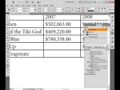 Importing tables into InDesign