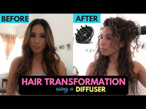 Diffuser on Straight Hair - Transformation to Curly