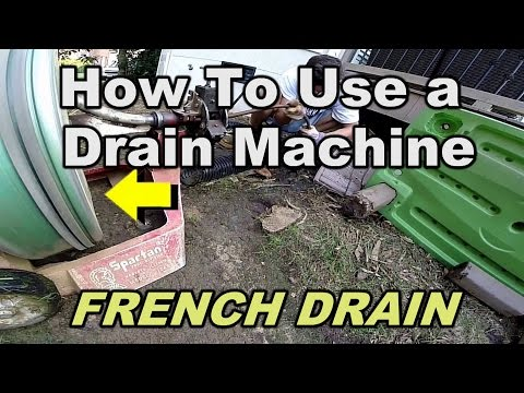French Drain Clean - How To Use a Drain Machine