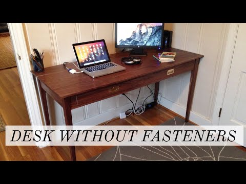 Shaker and Campaign Inspired Walnut Desk with no Screws or Nails |
