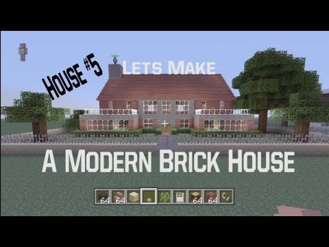 Minecraft let's Make a Modern Brick House: House #5