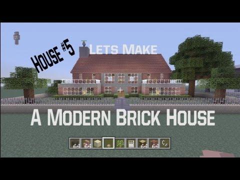 Minecraft let's Make a Modern Brick House: House #5