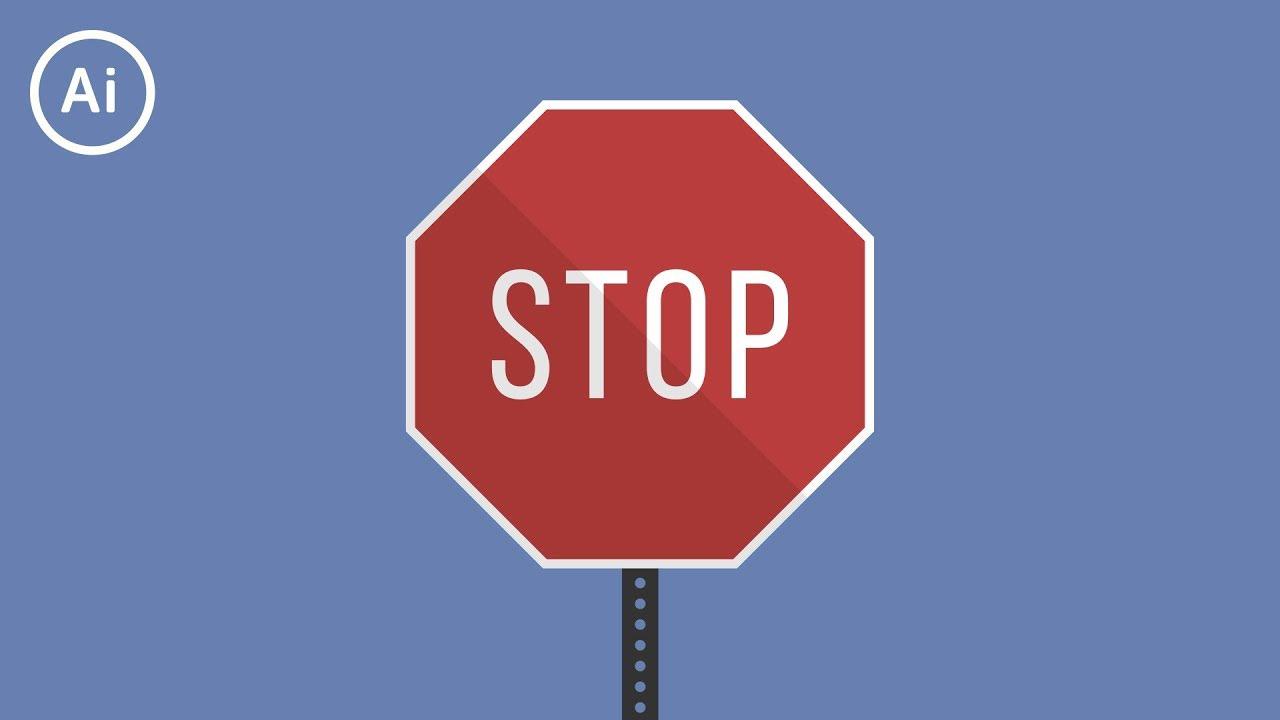 Flat Design Stop Sign   Illustrator Tutorial