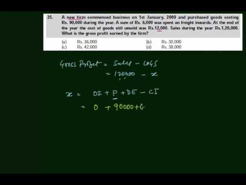CA-CPT - Gross Profit - Inventory Accounting - A0125(in Hindi)