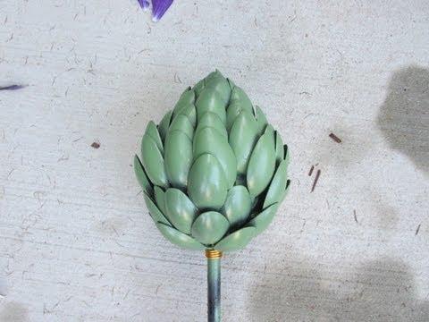 Recycled Artichoke Garden Art Craft Klatch   Make Something Monday