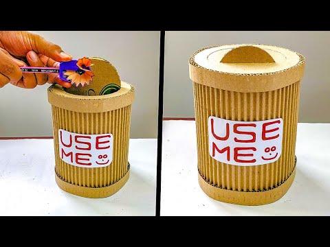 DIY Mini Trash Bin From Cardboard