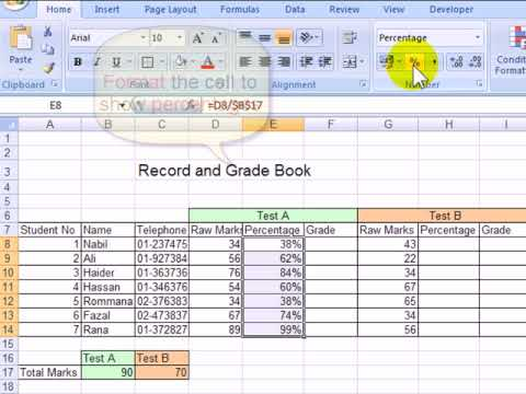 M18(2) How to calculate percentages and absolute values using an Ms Excel spreadsheet