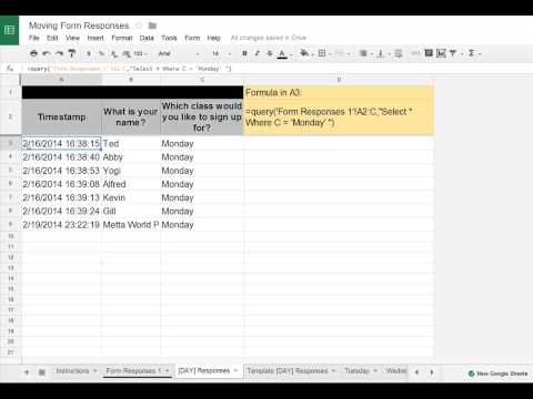 Google Sheets/Forms Tip - Moving Google Forms Data to Separate Tabs