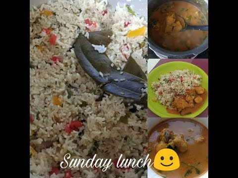 Bellpepper Rice Chicken Gravy Recipe|Baghara rice with chicken | How I made my Sunday lunch routine
