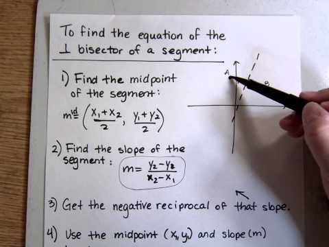 How to Find the Equation of a Perpendicular Bisector in the Coordinate Plane