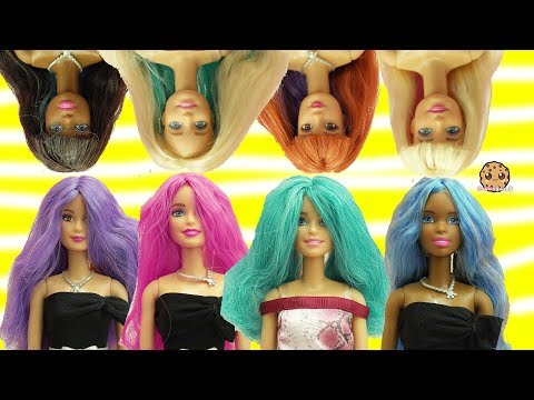 Barbie Dolls Head Twist Changing Hair Style + Color Change Hair - Toy Video