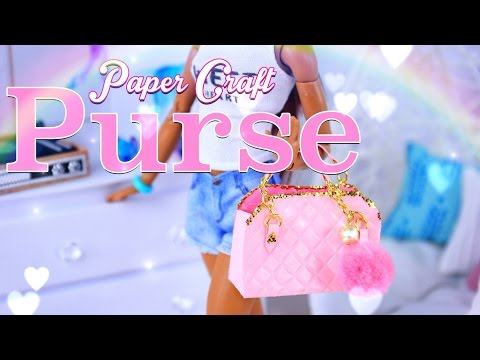 DIY - How to Make: Doll Purse \ Hand Bag PLUS Pom Pom Keychain - Paper Craft - 4K