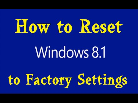 Reset Windows 8.1 to Factory Settings and Remove Personal Files Tutorial Lenovo Laptop