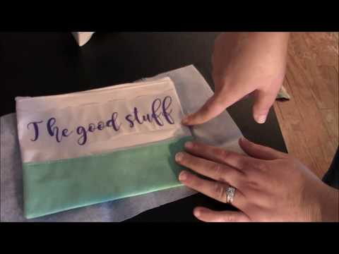 Cricut - HTV iron on heat transfer vinyl makeup bag tutorial video