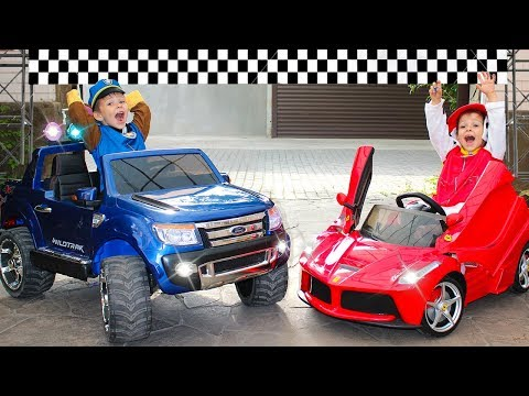 Power Wheels racing car Funny Paw Patrol ride on Power Wheels Jeep and Ferrari cars for kids
