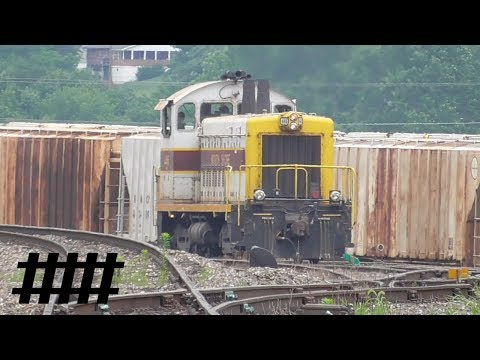 North Shore Switcher SW1500 446 Switching Freight Cars at Lewistown Yard in Lewistown, PA