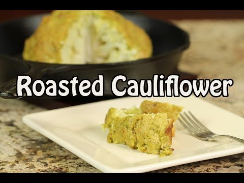 Roasted Cauliflower Recipe In Cast Iron Pan W/Avocado Lemon Garlic Sauce | Rockin Robin Cooks
