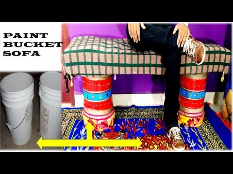 Make SOFA from Reusing Waste Paint Buckets | Best Out of Waste | Home Decorating Idea