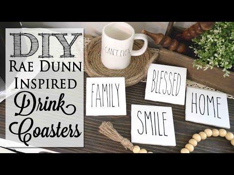 DIY Rae Dunn Inspired Drink Coasters | $1 00 Craft