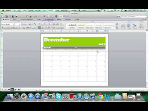 How to make a calendar on Microsoft Word 2011 Mac