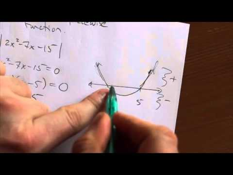 Write a piecewise function for the absolute value of a quadratic function.