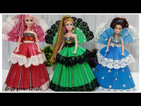 💙 BARBIE PRINCESS DRESS art 💙 From straw pipes 💙 |💙 DREAM barbie doll | 💙