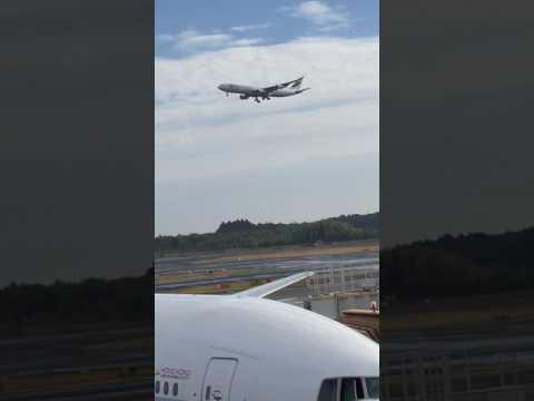 flight landing scene at narita airport tokyo japan成田空港の到着