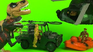 Just Kidz Dinosaur Hunting Play Set - Jurassic World Dino for Kids with Trucks Dinosaurs