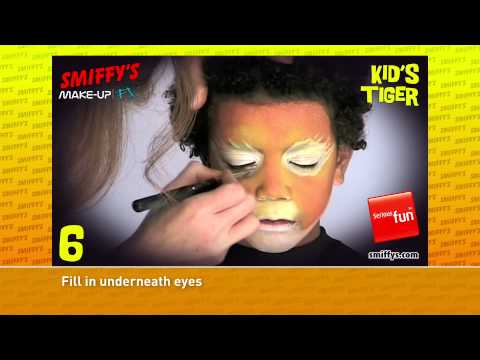 Tiger Face Painting Make-up Tutorials for Children