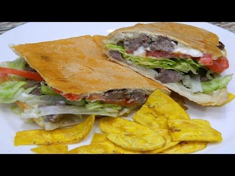 Como hacer Sandwich de Bistec al estilo Puertorriqueño en Español