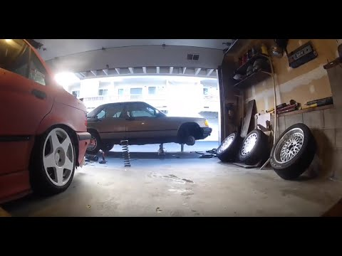 190E Build Part 3 Suspension DIY How to make cut springs stiffer hot rod style