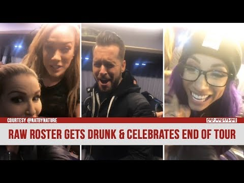 Members Of The RAW Roster Get Drunk & Celebrate The End Of The European Tour (VIDEO)