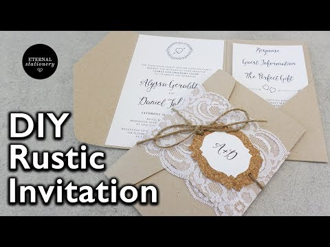 How to make rustic lace pocket wedding invitations with cork tag | DIY invitation