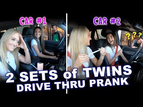 2 Sets of Identical Twins Drive Thru Prank ft. Rybka Twins - Merrell Twins