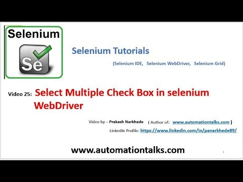 Selenium Video 25 - Select Multiple Check Box in selenium WebDriver