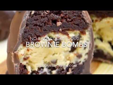 No Bake Chocolate Chip Cookie Dough Brownie Bombs