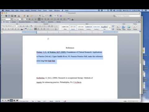 Quick Tutorial: Hanging Indents for APA style references