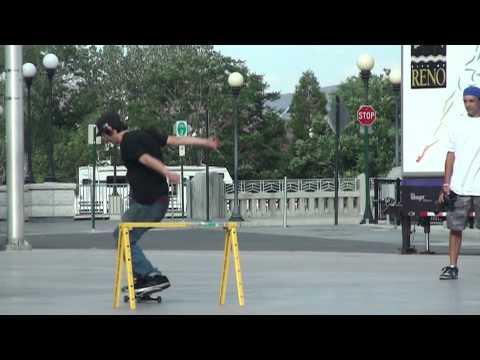Robert Landers Pro Skater SLOW MO kickflip over guard rail
