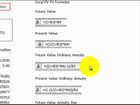 Discount Factors (Excel Formulas Detailed To Replace Factor Tables, PV, FV, Annuities)