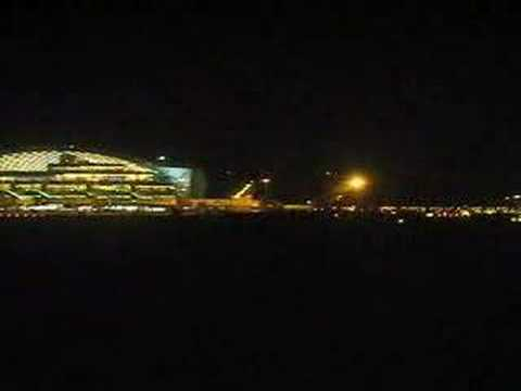 Taxi and Take-off from London Heathrow at night