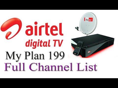 Airtel Digital TV (My Plan 199) के सभी चैनल