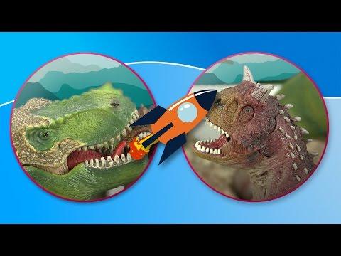 Dinosaurs. T -Rex , Brachiosaurus and Carnotaurus go hunting together