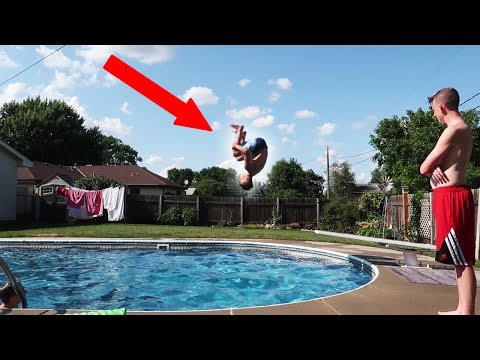 DOUBLE BACKFLIP OFF 1FT DIVING BOARD