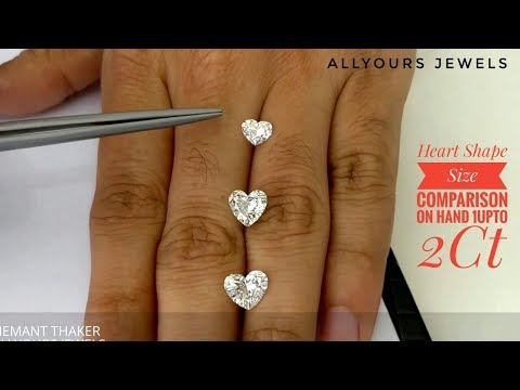 Heart Shape size comparison on Hand 1 upto 2ct - Hindi