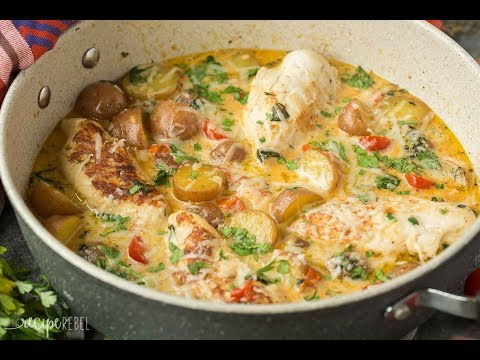 One Pan Tuscan Chicken and Potato Skillet Recipe