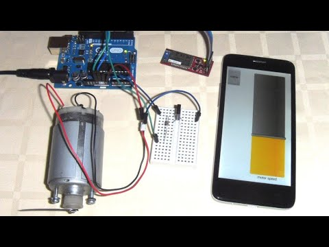 Arduino DC motor speed control over Bluetooth with RoboRemo app