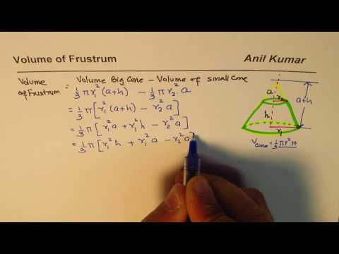 Frustrum Volume Formula Derivation as difference of cubes  from Basics