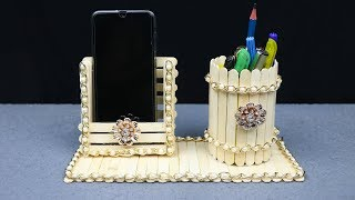 Homemade Pen stand and Mobile phone holder with ice cream sticks | best out of waste